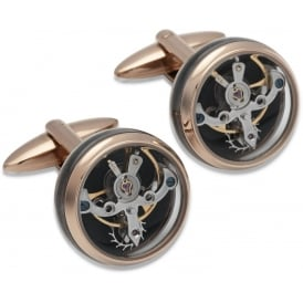 Rose Gold Stainless Steel Watch Movement Cufflinks