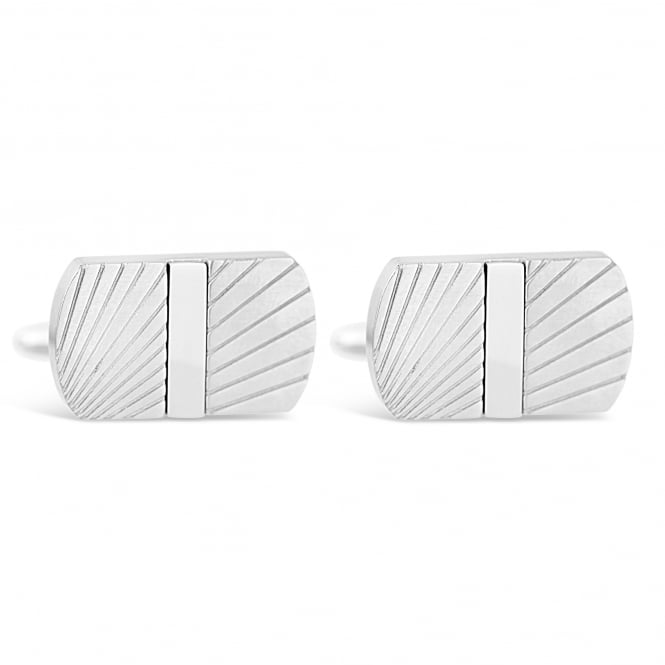 Unique & Co Silver Stainless Steel Patterned T-Bar Cufflinks