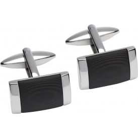 Stainless Steel & Black Carbon Rectangle Cufflinks