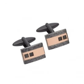 Stainless Steel Cufflinks with Rose and Black IP-Plating