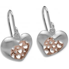 Sterling Silver & Rose Gold Plated Cut Out Heart Earrings