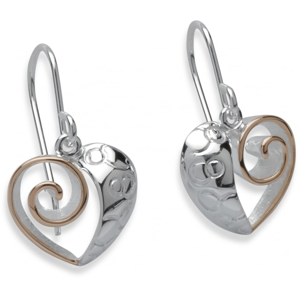 2a194431c Sterling Silver & Rose Gold Two Tone Heart Drop Earrings