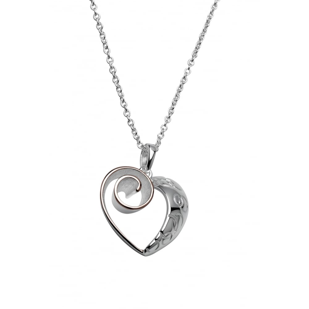 7c862ebccd9360 Sterling Silver & Rose Gold Two Tone Heart Necklace