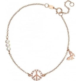 18ct Rose Gold Plated Peace Bracelet