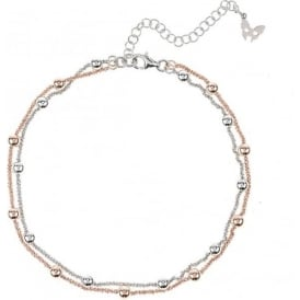 Chic Rio Rose Gold & Sterling Silver Beaded Ankle Chain