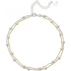 Chic Rio Silver And Yellow Gold Beaded Ankle Chain