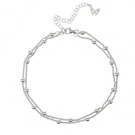 Chic Rio Sterling Silver Beaded Ankle Chain