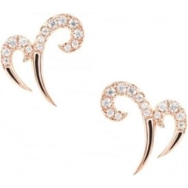 Rose Gold Hidden Mask Double Spike Stud Earrings