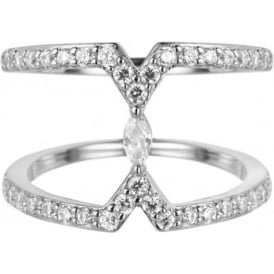 Sahara Silver Marquise Ring With CZ Detail