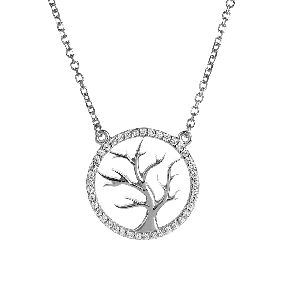 cubic sterling tree zirconia pendant jewellery simply zoom of silver necklaces life necklace