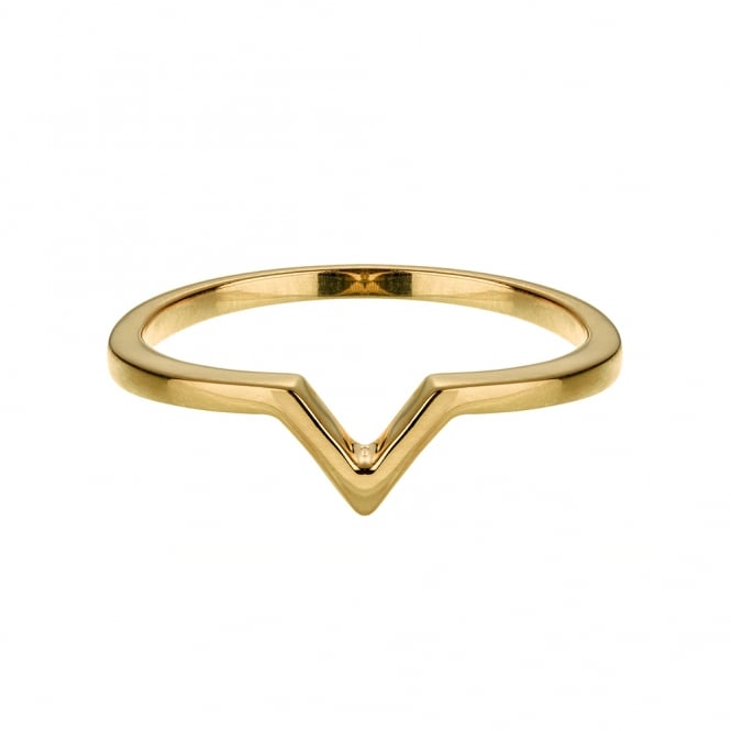 Vamp London Yellow Gold Attitude Stackable V Ring