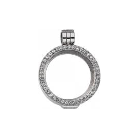 23mm Silver with Cubic Zirconia Locket