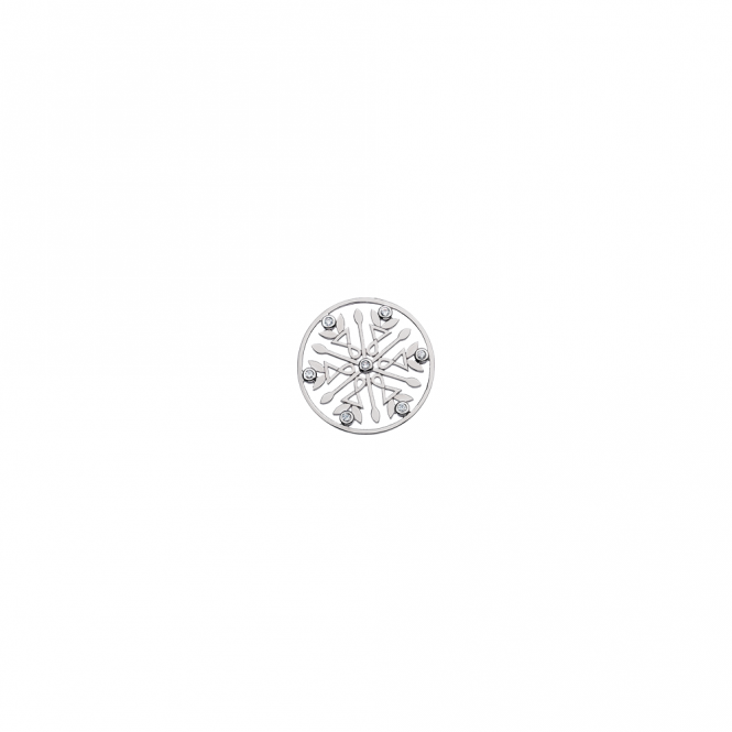Virtue London 23mm Sterling Silver Snowflake Disc
