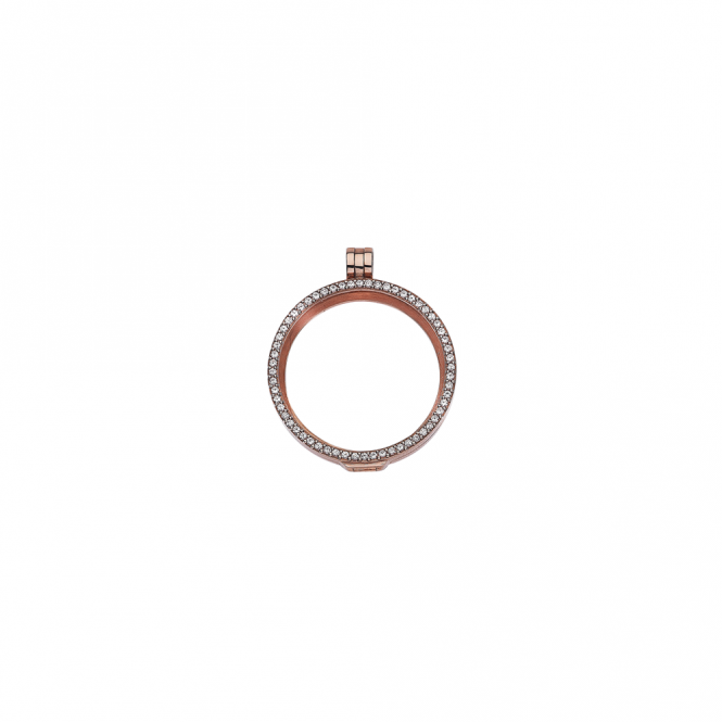 Virtue London 32mm Rose Gold with Cubic Zirconia Locket