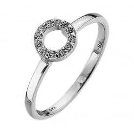 Sterling Silver CZ Circle Stack Ring