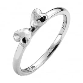 Sterling Silver Double Heart Stack Ring