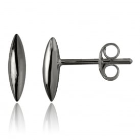 Black Rhodium Rice Grain Stud Earrings