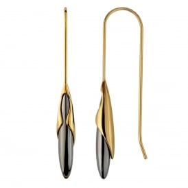 Yellow Gold & Black Rhodium Rice Drop Earrings