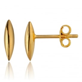 Yellow Gold Rice Grain Stud Earrings