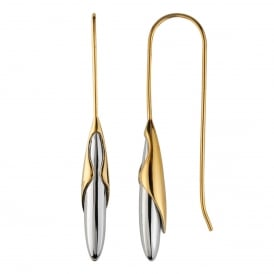 Yellow Gold & Sterling Silver Rice Drop Earrings